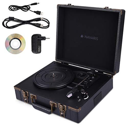 Navaris Retro Koffer Plattenspieler mit Lautsprecher - USB Port zum Digitalisieren - Krokoleder-Optik - Vintage Schallplatten Spieler Schwarz-Schwarz