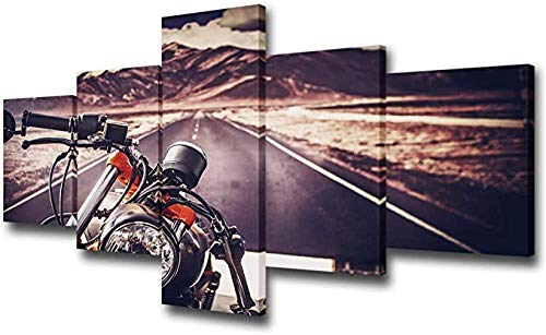 HSBZLH Abstract Art Mountain Bike Racing Canvas Wall Art Motorcycles Road Poster Giclee Prints Extreme Sports Pictures Modern Sunset Painting Nascar Wall Decor