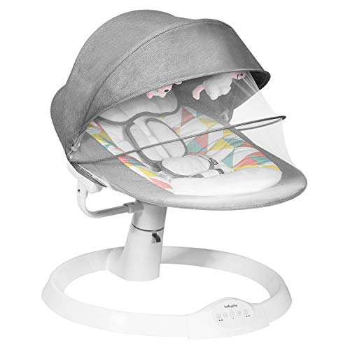 COSTWAY Babywippe mit 5 Schwingungsamplituden und Musik, Baby Schaukelstuhl mit Timing- und Bluetoothfunktion, inkl. Spielzeug, Fernbedienung, abnehmbares Verdeck und Moskitonetz