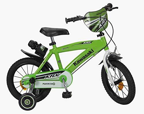 Kawasaki Kinderfahrrad Bike 14 Zoll mit Felgenbremse, Trommelbremse, Klingel und Trinkflaschenhalter