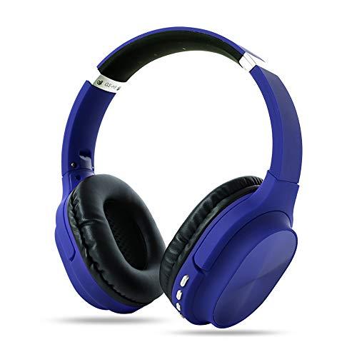 RYRA Auriculares inalámbricos Bluetooth 5.0, GS-H8 plegables con micrófono, Hi-Fi Stereo Soft Memory Protein Earpuffs para el hogar, oficina en línea, soporte para tarjeta TF azul