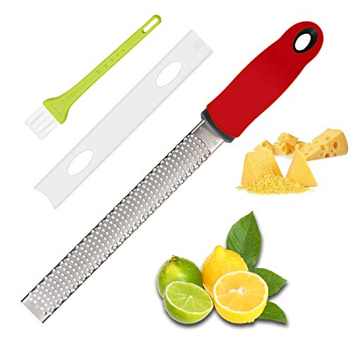 Lemon Zester, Cheese Grater, Zester for Kitchen with Razor-Sharp Stainless Steel Blade, Protective Cover and Cleaning brush, Dishwasher Safe, Red