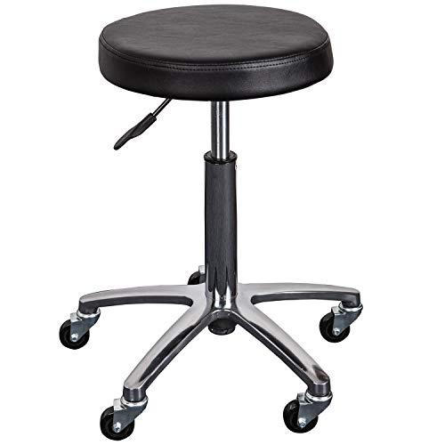 Staboos Profi Arbeitshocker 7261 aus Alu, runder Gel Sitz mit Rollen für professionellen Einsatz bis 150 kg, höhenverstellbar (50 cm bis 70 cm) drehbar, schwarz