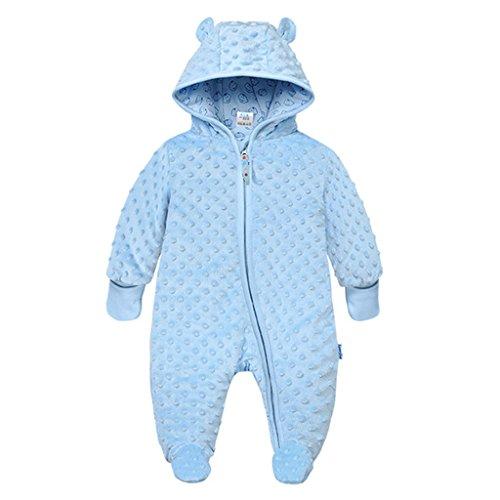 Baby Winter Fleece Overall mit Kapuze Schneeanzüge Footed Strampler Spielanzug Jumpsuit, Blau 3-6 Monate