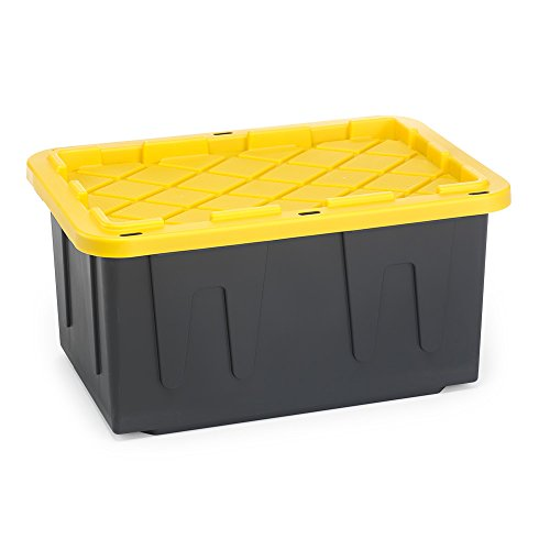 HOMZ 27 Gallon Durabilt Tough Storage Container, Black Base, Yellow Lid, Stackable, 4-Pack