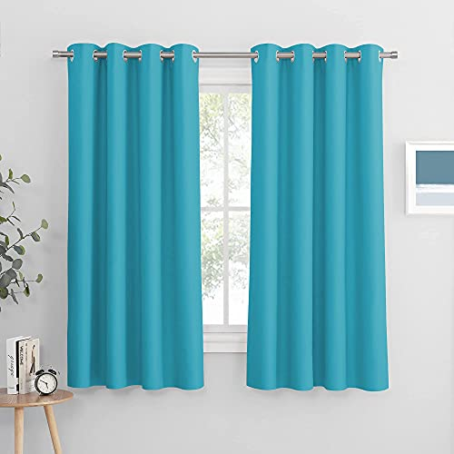 PONY DANCE Bedroom Window Curtains - Home Decoration Solid Window Treatments Thermal Insulated Drapes Blackout Draperies Panels for Living Room, 52 by 63 Inches, Blue Mist, 1 Pair