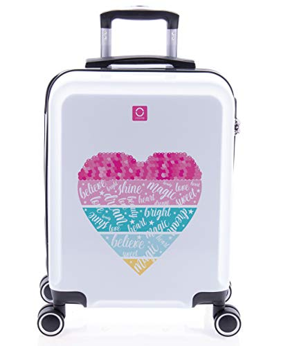 imome Cool Maleta de Cabina Juvenil Heart 55x40x20 cm | Equipaje de Mano, Trolley de Viaje Ryanair, Easyjet | Maleta de Viaje Rígida Corazón Divertida