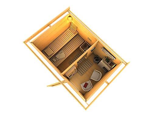 SAUNELLA Sauna Haus mit Ofen | Bausatz Gartensauna - Saunakabine Maße: 330 x 231 x 226 cm | Saunaofen Komplett Sauna Zubehör | Bio-Kombi-Ofen 4 in 1 mit ext. Steuerung 9 kW