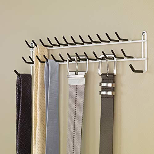 Tie and Belt Rack White Stainless Steel Wall Mounted