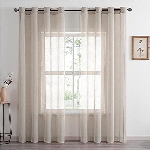 CottLinen - Cortinas de tul para ventana de Bedom Cafe color sólido, color beige, blanco, caqui, 100 x 130 cm, China, cinta plisada