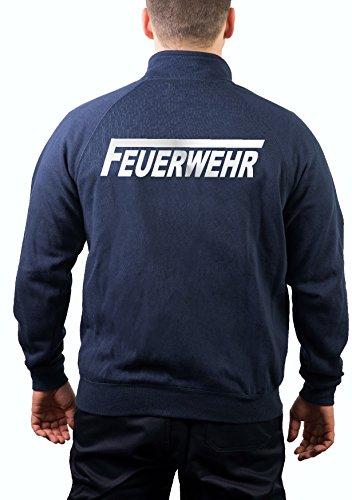 feuer1 Sweatjacke Feuerwehr Navy mit langem F, Silber reflektierender Schriftzug