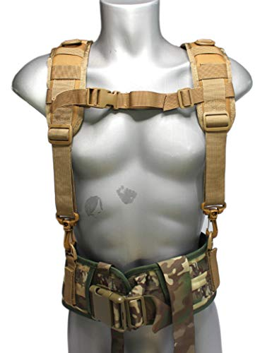 Melo Tough Tactical Outdoor H-Harness Duty Belt Suspenders (Khaki) -Tactical Duty Belt not Included