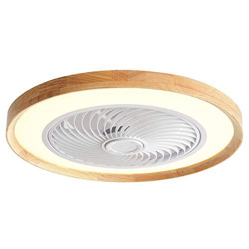 VOAOV Ventilador de Techo con Luz de Madera, Fan Lámpara LED Regulable Silenciosa Interior con Control Remoto y Control App, Plafón De Techo para Dormitorio, Salón, Comedor, Oficina
