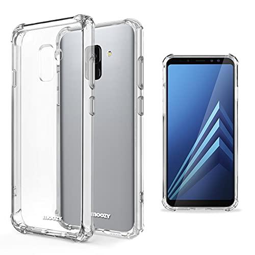 Moozy Coque Silicone Transparente pour Samsung A8 2018 - Anti Choc Crystal Clear Case Cover Étui de Flexible Souple TPU