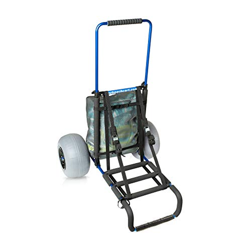 Mybeachcart NO Rust Foldable Beach Cart Trolley Big Wheels Balloon Tires for Sand Heavy Duty