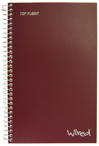 Top Flight Wired 3-Subject Notebook, 120 Sheet