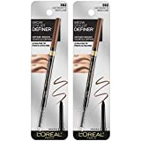 L'Oreal Paris Makeup Brow Stylist Definer Waterproof Eyebrow Pencil, Ultra-Fine Mechanical Pencil, Draws Tiny Brow Hairs and Fills in Sparse Areas and Gaps, Light Brunette, 0.003 Ounce (Pack of 2)