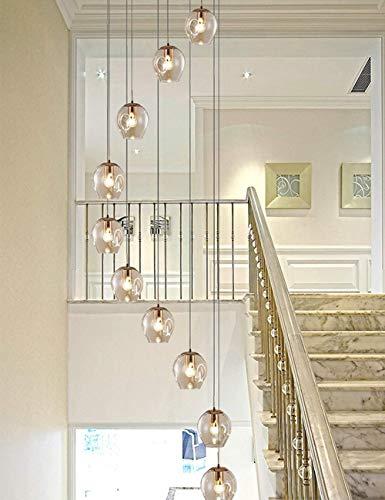 Iluminación Colgante 10 Lámparas de araña de Cristal Bola de Cristal Luces múltiples Moderna Sala de Estar Creativa Lámpara Colgante Villa Lámpara de Techo Apartamento dúplex Lámpara Larga Espiral A+