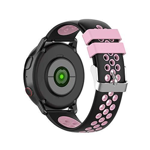 KINOEHOO Correas para relojes Compatible con Samsung active/S2 classic, Compatible con Garmin vivoactive 3/vivomove HR 20mm Pulseras de repuesto relojesde siliCompatible cona.(Negro + rosa)