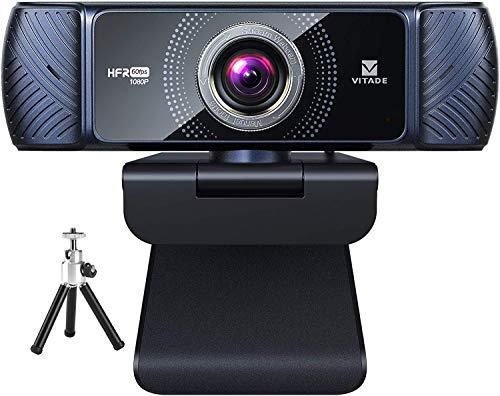 Webcam mit Stereo-Mikrofon und Stativ 1080p 60fps, Vitade 682H USB Full HD Web-Kamera für Videochat und Aufnahme, kompatibel mit Windows, Mac und Android