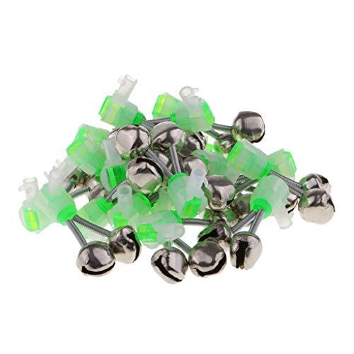 B Blesiya Aalglocken LED 20 Stück Angeln Alarmglocken-Set Aal-Glöckchen doppelt Bissanzeiger zum Angeln - Grün