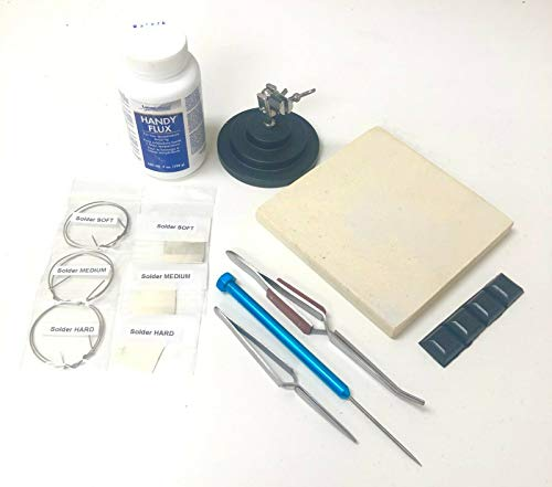 Soldering Kit for Jewelry Making Handy Flux 3rd Hand Base Fiber Grip Tweezers Silver Wire and Sheet Ceramic Board Soldering Pick