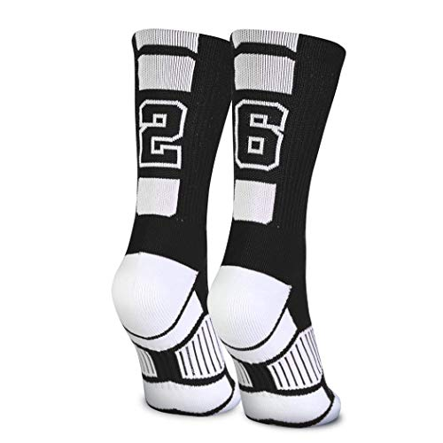 Custom Team Number Crew Socks   Athletic Socks by ChalkTalkSPORTS   Black   26