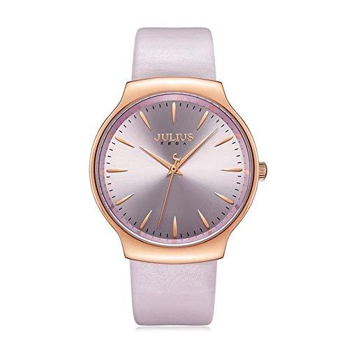 CHENDX Julius Grandes de la Manera del dial Impermeable Watche Casual de Las señoras Ambiente Movimiento de Cuarzo Watche (Color : A)