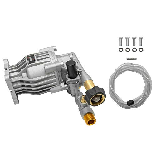 """OEM Technologies 90028 Horizontal Axial Cam Replacement Pressure Washer Pump Kit, 3300 PSI, 2.4 GPM, 3/4"""" Shaft, Includes Hardware and Siphon Tube, for Residential and Industrial Gas Powered Machines, Silver"""