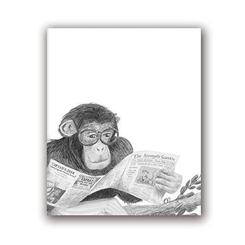 Geiqianjiumai zwart-wit aapdruk grappige dierenbad impansebril plakaat schert zeildoek schilderijwand