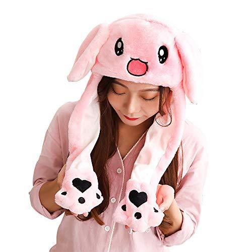 Missley Movimiento Conejo Oreja Sombrero Kawaii Pascua de Resurrección Conejito Gorra Animal Cosplay Lujoso Vestido Encantador Regalos para Mujer Chicas (Rosado)