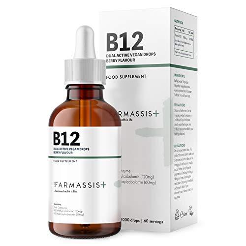 Farmassis+ Vitamin B12 Liquid Supplement Drops - Berry Flavour - 60ml - 3000mcg - Vegan Tincture - 60 Servings