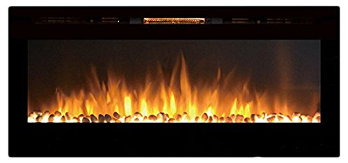Moda Flame MFE5048WS 50' Cynergy Built-in Wall Mounted Electric Fireplace - Pebble Stone