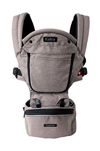 MiaMily Hipster Plus 3D Forward-Facing Baby Carrier and Baby Sling with 9-Supportive Carry Positions Stone Grey