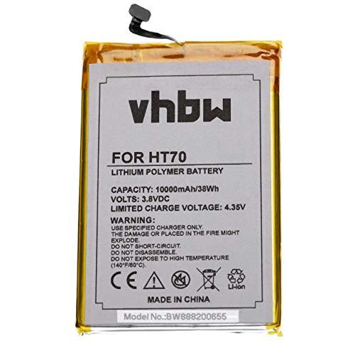 vhbw batteria compatibile con HomTom HT70 smartphone cellulare (10000mAh, 3,8V, Li-Poly)