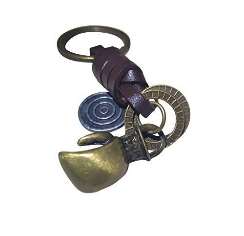 LATHEA Schlüsselanhänger mit Boxhandschuh, Antik-Bronze, Leder, Knockout-Anhänger, Geschenk für Boxer, Kämpfer und Kampfkünstler