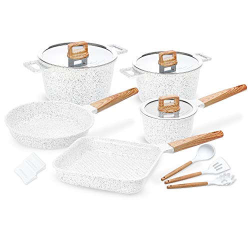 Ceramic Cookware Set Non-Stick Dishwasher Safe Scratch Resistant 100% PFOA Free Induction Aluminum Pots and Pans Set with Cooking Utensil Pack -13 - White