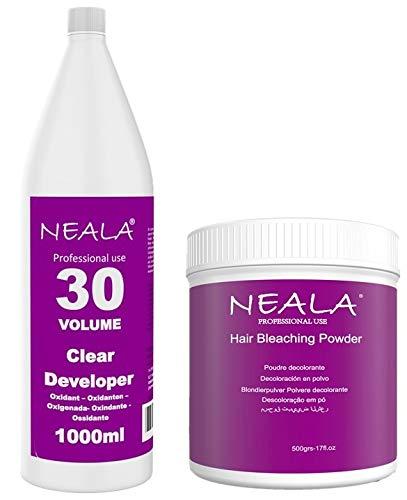 Kit decoloración sin amoniaco para el pelo Neala. Ideal mechas y decoloración cabello. Decolorante sin amoniaco azul en polvo 500ml. + Oxidante de 30vols. 1 Litro.