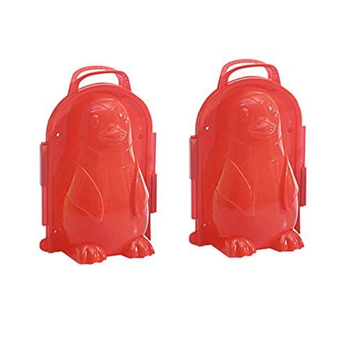 June# Schneeball Clip mit Griff,Pinguin Form Schneeball Maker für Kinder und Erwachsene,Schneeball Maker Schnee Spielzeug,Winter Outdoor Spielzeug Schneeball Clip,Schneeball Werkzeug (2 Stück, Rot)