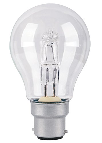 3er-Pack TCP 70 W = 91 W GLS BC B22 Bajonettsockel ECO Halogen A55 Energiesparlampe dimmbar 220–240 V [Energieklasse D], weiß, 3 Stück, B22d