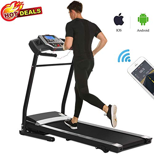 Folding Treadmill Electric Motorized Walking Jogging Running Machine with Incline, Smartphone APP Control, Bluetooth Exercise Fitness Trainer Equipment for Home Gym Office (Black) Treadmills