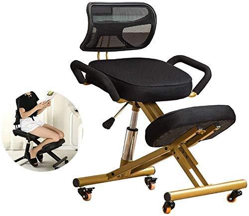 Living Decoration Silla ergonómica para arrodillarse Silla ergonómica para arrodillarse con ruedas Silla de trabajo para corrección de postura Silla antimiopía para aliviar la fatiga física (Color: