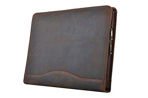 オーガナイザーポートフォリオ 素朴な革ビジネスバッグ A4書類ケース システムファイルパッドフォリオ,タン