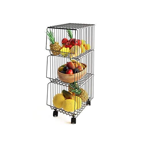 Mocosy Cesta de Alambre de Metal con Ruedas y Tapa, Estante de Utilidad apilable de 3 Niveles para Cesta de Frutas, contenedor Organizador de Almacenamiento para Cocina