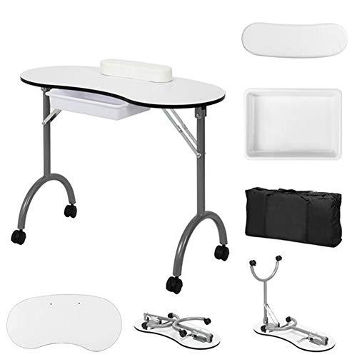 Mesa de manicura plegable para manicura con cajón, ruedas móviles, bolsa de...