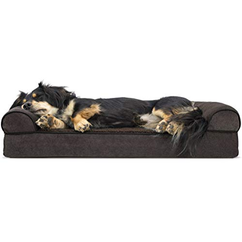 Furhaven Pet Dog Bed | Orthopedic Faux Fleece & Chenille Soft Woven Traditional Sofa-Style Living Room Couch Pet Bed w/ Removable Cover for Dogs & Cats, Coffee, Medium