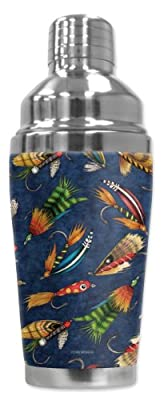 Mugzie® brand 16-Ounce Cocktail Shaker with Insulated Wetsuit Cover - Fly Fishing Lures from Mugzie