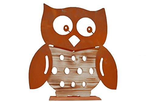 Ferrum Eule Holzeule Metall Holz Edelrost Rost Rostfigur Holzfigur Deko Dekoration Deko-Idee Dekoeule Dekotier Rostdeko Holzdeko Gartendeko Geschenk-Idee Geschenk