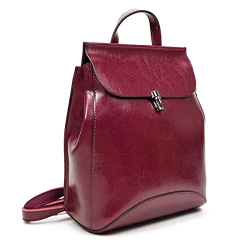 LUUFAN Vintage Genuine Leather Backpack Casual Rucksack Convertible Shoulder Bag for Women and Girls, S, Purple