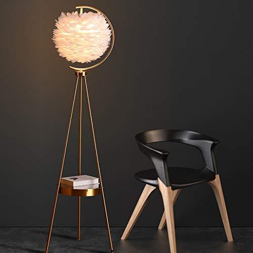 Guadang Nórdica moderna LED Pluma Lámpara de mesa con el tema del hotel creativo decoración cálida y lámpara de pie cabecera del dormitorio romántico (Body Color : Black)